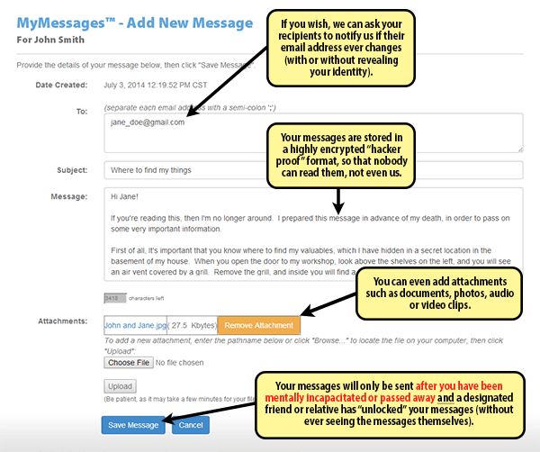 Sample MyMessages screen